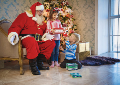 Santa Claus gives presents